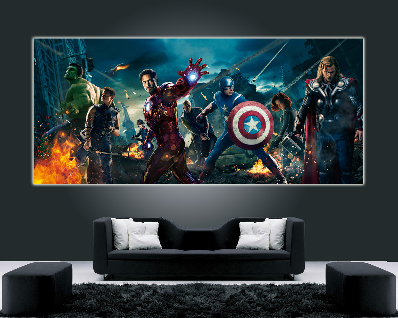 avengers hi quality movie poster xxl wall art 22x50 iron man hulk marvel ebay. Black Bedroom Furniture Sets. Home Design Ideas